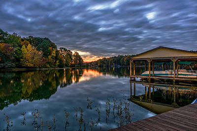 Photograph - Autumn Sunrise On The Lake by Lori Coleman