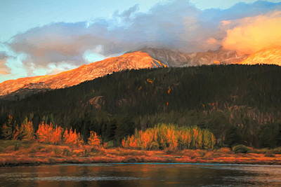 Lilies Royalty-Free and Rights-Managed Images - Autumn Sunrise Over Lily Lake Colorado by Dan Sproul