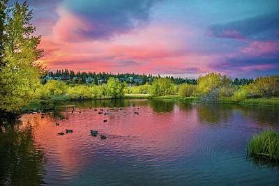 Photograph - Autumn Sunset At The Duck Pond by Lynn Bauer