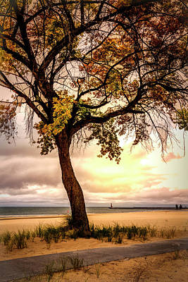 Muskegon Lighthouse Wall Art - Photograph - Autumn Sunset At The Lake by Debra and Dave Vanderlaan