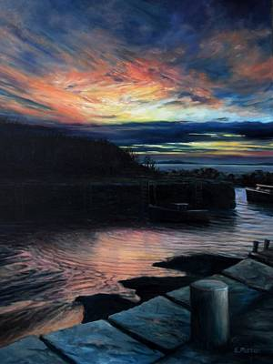 Painting - Autumn Sunset, Lanes Cove by Eileen Patten Oliver