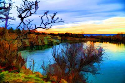 Plein Air Mixed Media - Autumn Sunset by Lilia D