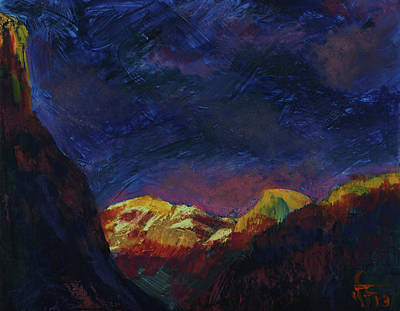 Mixed Media - Autumn Sunset Over Half Dome 2013 A by Walter Fahmy