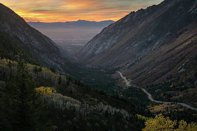 Autumn Sunset View Of Little Cottonwood Art Print by James Udall