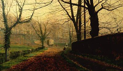 Autumn Sunshine Stapleton Parknear Pontefract  Print by John Atkinson Grimshaw