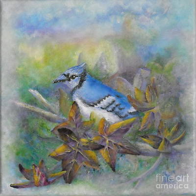 Autumn Sweet Gum With Blue Jay Art Print by Sheri Hubbard