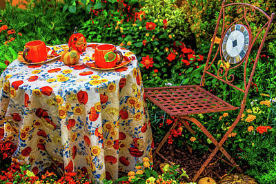 Empty Chairs Photograph - Autumn Table Setting by Garry Gay