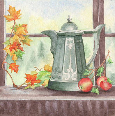 Teapot Painting - Autumn Teapot by Alice Domineske
