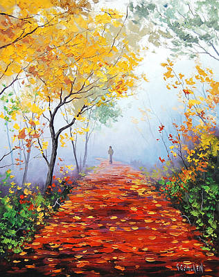 Birch Tree Painting - Autumn Trail by Graham Gercken
