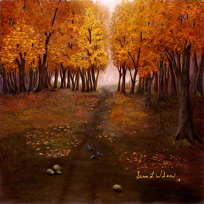 Art Print featuring the painting Autumn Trail by Sena Wilson