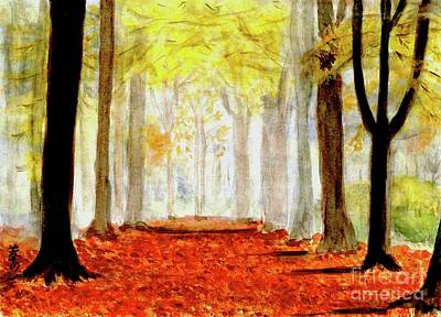 Art Print featuring the painting Autumn Trail by Yoshiko Mishina