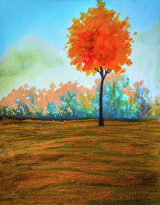 Mixed Media - Autumn Tree - O by Lilia D