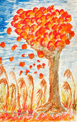 Ending Painting - Autumn Tree On The Wind by Arletta Cwalina
