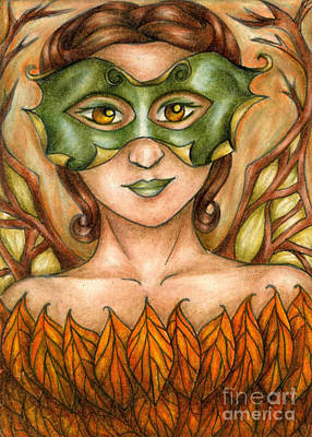 Drawing - Autumn Tree Sprite Art by Kristin Aquariann