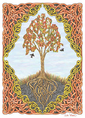 Drawing - Autumn Tree With Knotted Roots And Knotted Border by Lise Winne