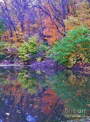 Autumn Trees And Pond Reflections  Vertical Image   Indiana Art Print by Rory Cubel
