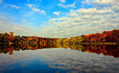 Y120907 Photograph - Autumn Trees Reflection by This image is Copy
