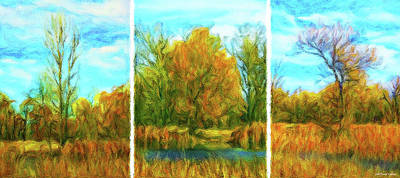Digital Art - Autumn Trio - Triptych by Joel Bruce Wallach