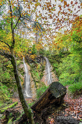 Photograph - Autumn Twin Waterfall by Adrian Evans