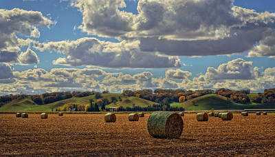 Autumn Valley Bales Art Print by Bruce Morrison