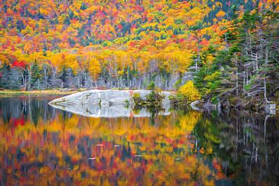 Autumn Leaf On Water Digital Art - Autumn Vibrance by Black Brook Photography
