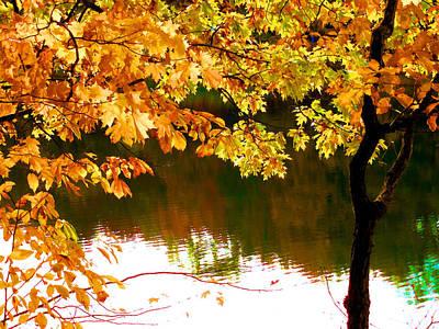 Autumn View Of Lake 1 Print by Lanjee Chee