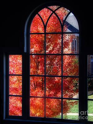 Autumn View Thru A Picture Window Art Print by Sue Melvin