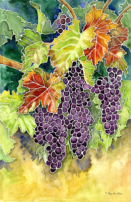 California Watercolor Artists Painting - Autumn Vineyard In Its Glory - Batik Style by Audrey Jeanne Roberts
