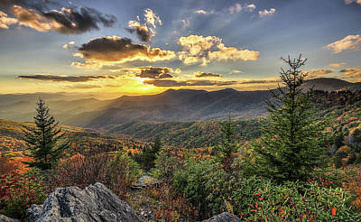 Photograph - Autumn Warmth Blue Ridge Moutains by Donnie Whitaker