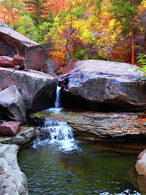Photograph - Autumn Waterfall by Alan Socolik