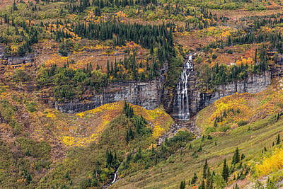 Photograph - Autumn Waterfall In Glacier National Park by Pierre Leclerc Photography