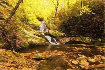 Fall Foliage Mixed Media - Autumn Waterfall In The Smokies by Dan Sproul