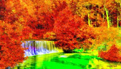 Red Leaf Painting - Autumn Waterfall - Pa by Leonardo Digenio