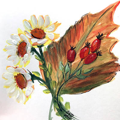 Painting - Autumn Wild Flowers Bouquet by Dorothy Maier