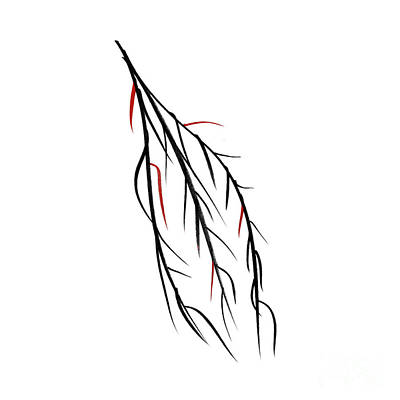 Japanese Tree Drawing - Autumn Willow by Konstantin Sevostyanov