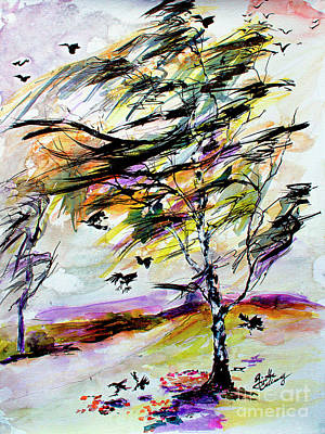Painting - Autumn Wind And Birds  by Ginette Callaway