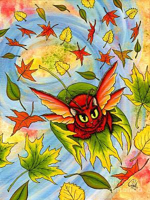 Art Print featuring the painting Autumn Winds Fairy Cat by Carrie Hawks