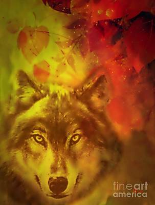 Digital Art - Autumn Wolf by Maria Urso