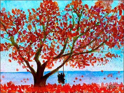 Painting - Together In Autumn  by Wonju Hulse