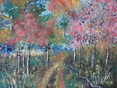 Painting - Autumn Woodland by Judy Via-Wolff