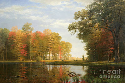 Reflecting Water Painting - Autumn Woods by Albert Bierstadt
