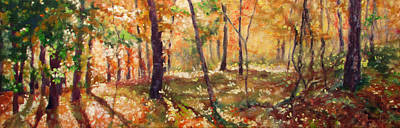 Impressionistic Landscape Painting - Autumn Woods by Bonnie Mason