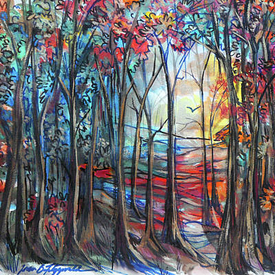 Painting - Autumn Woods Sunrise by Jean Batzell Fitzgerald