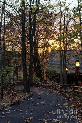 Photograph - Autumn Woods Sunset Walkway by Jennifer White