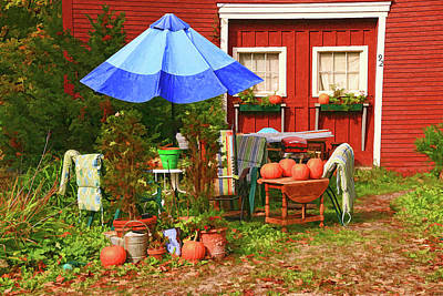 Photograph - Autumn Yard - Photopainting by Allen Beatty