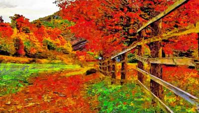 Digital Art - Autumnal Blaze Of Glory by Mario Carini