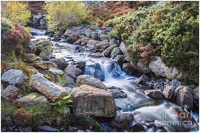 North Wales Digital Art - Autumnal Cascade  by Chris Evans
