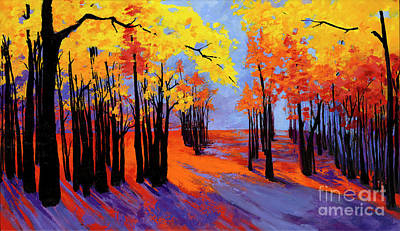 Autumnal Landscape Painting, Forest Trees At Sunset Original