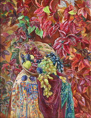 Painting - Autumnal Shades Of Magenta by Maya Gusarina