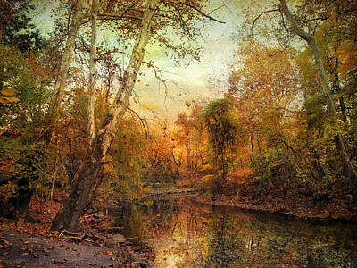Water Reflections Digital Art - Autumnal Tones by Jessica Jenney
